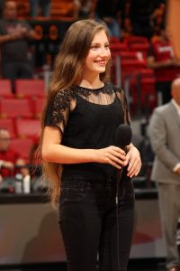 Jessica Russo performing at a Miami Heat game