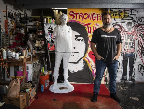 Manuel Oliver inside the art studio at his home on the Coral Springs/Parkland border with works that honor Joaquin— including the 3D replica of his son that he took to Times Square in New York