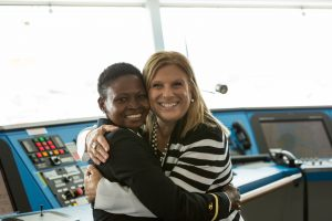 Lutoff-Perlo with Nicholine Tifuh Azirh, the first woman from West Africa to serve as a bridge officer in the cruise industry
