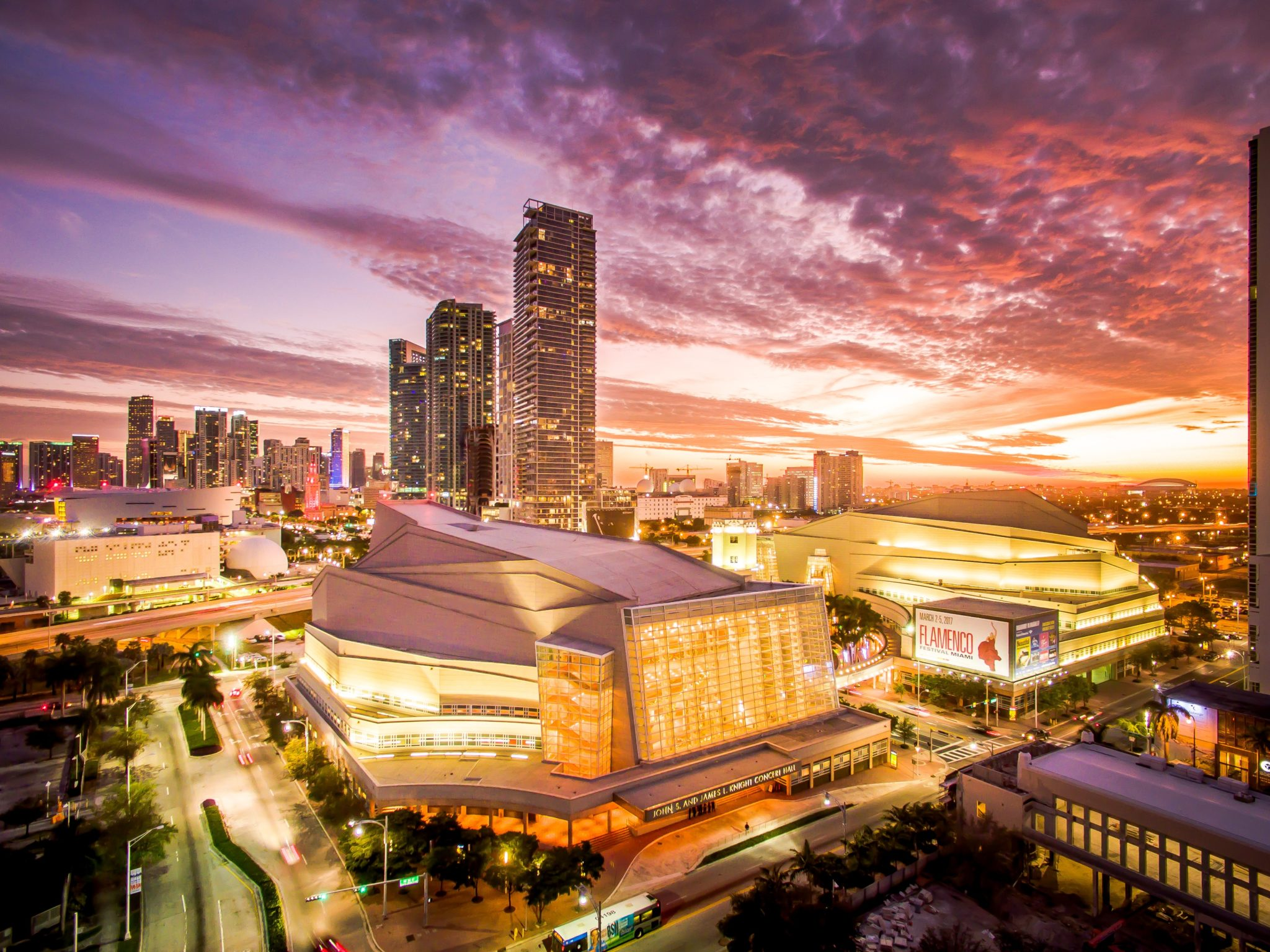 Aerial shot of the Arsht Center; photo by Justin Namon, ra-haus