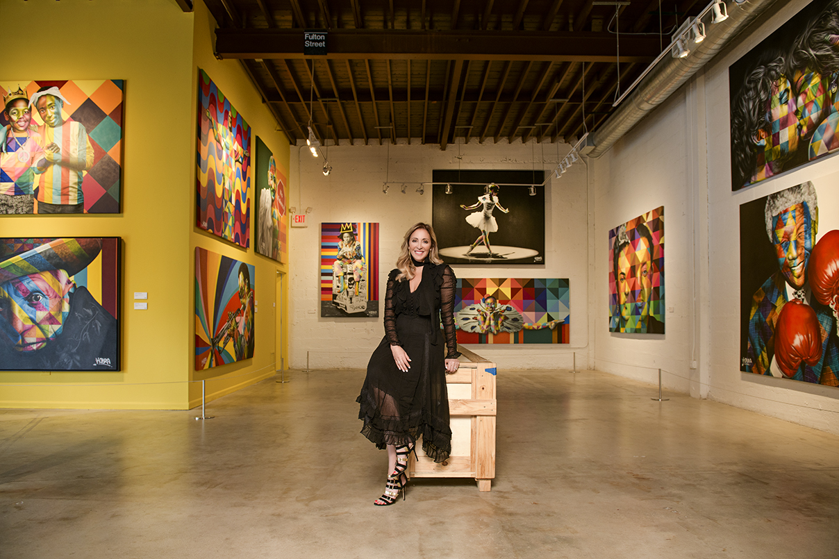 "Jessica Goldman Srebnick at the ""Kobra: Larger than Life"" exhibit inside the Goldman Global Arts Gallery"