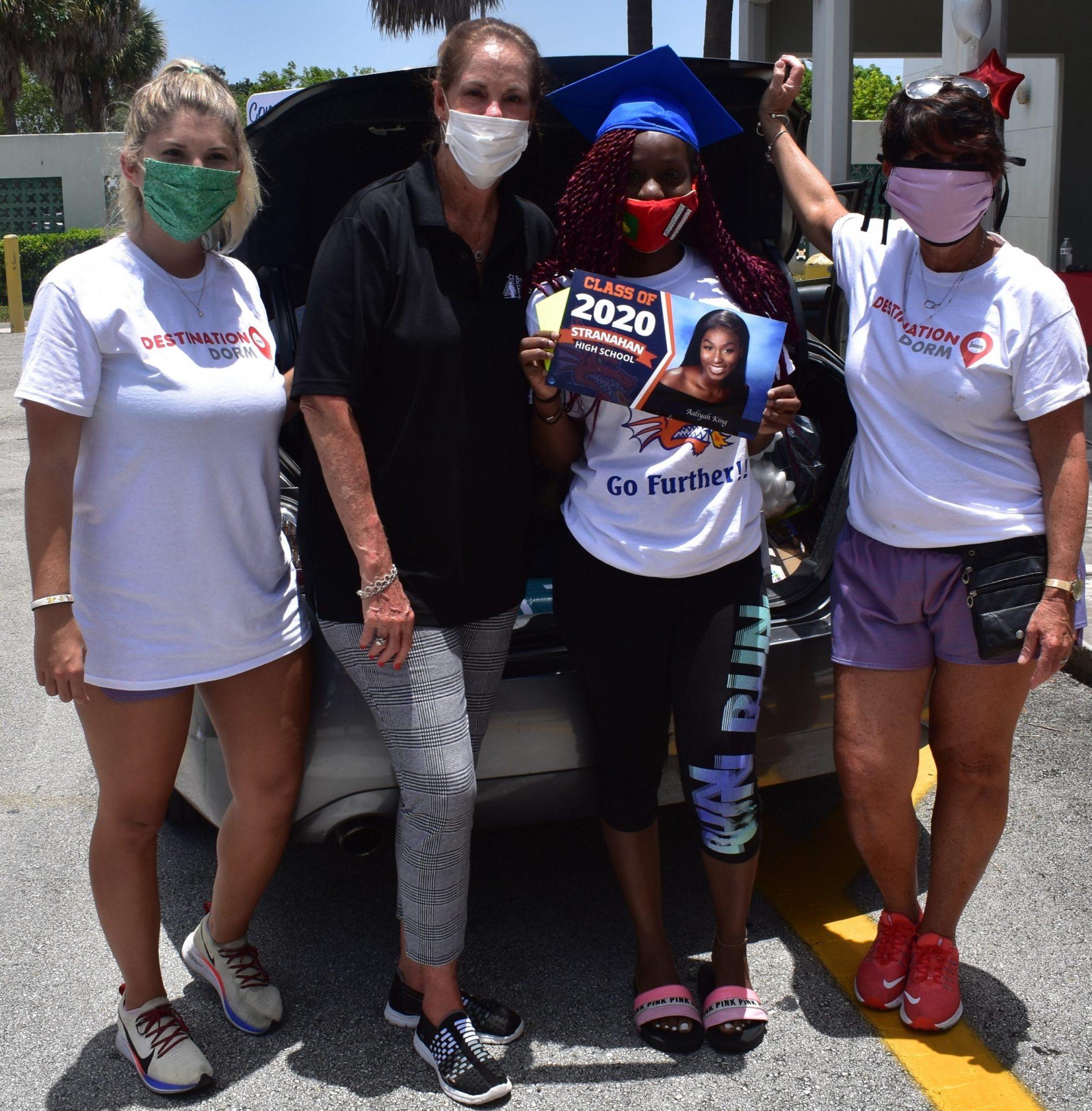 Destination Dorm's Jamie Raff; Broward Education Foundation Executive Director Shea Ciriago; Aaliyah King, a graduate of Stranahan High School who will be attending FSU; and Meryl Raff of Destination Dorm