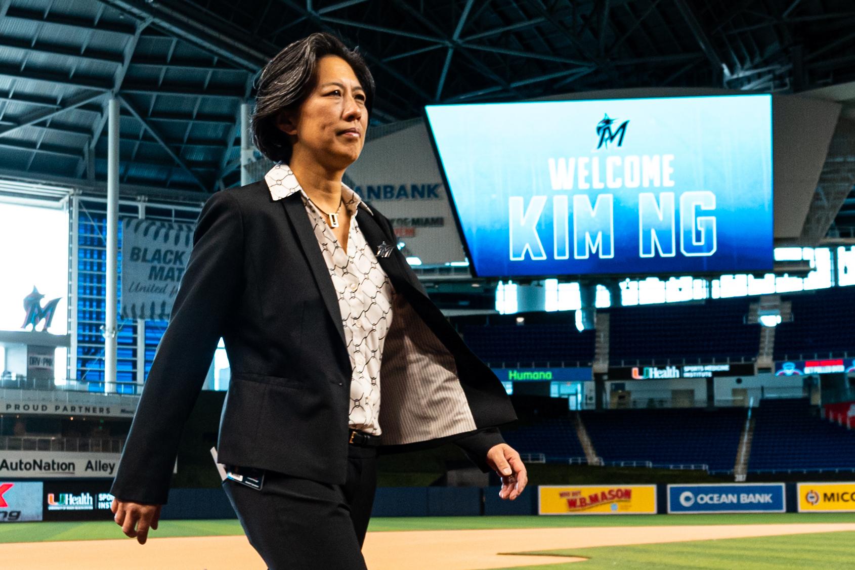 Kim Ng during a press conference on Nov. 16, 2020, at Marlins Park in Miami